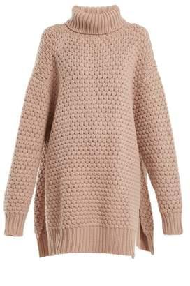 Raey Split Side Roll Neck Bubble Knit Cashmere Sweater - Womens - Nude