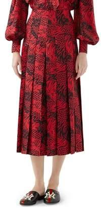 Gucci Tiger Print Pleated Silk Skirt