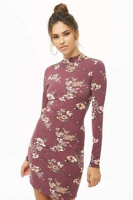 Forever 21 Floral Mock Neck Mini Dress