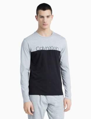 Calvin Klein logo colorblock crewneck long sleeve shirt