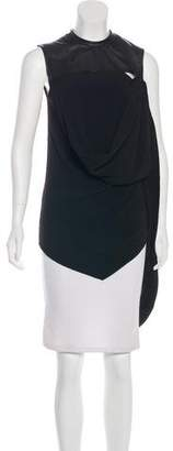 Damir Doma Leather-Accented Crepe Top w/ Tags