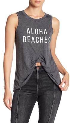 Knit Riot Aloha Beaches Front Tie Tank Top