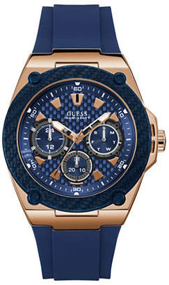 GUESS Active Life Collection Rose Goldtone and Navy Stainless Steel Silicone Strap Watch