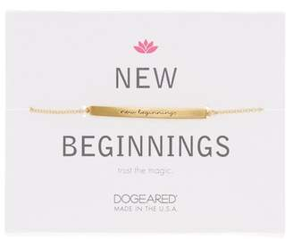 Dogeared 14K Gold Plated Sterling Silver New Beginnings Thin Bar ID Bracelet