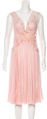 J. Mendel Chiffon Pleated Dress
