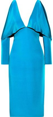 Cushnie Cold-shoulder Layered Silk Dress
