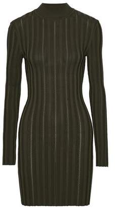 McQ Cutout Ribbed-Knit Turtleneck Mini Dress