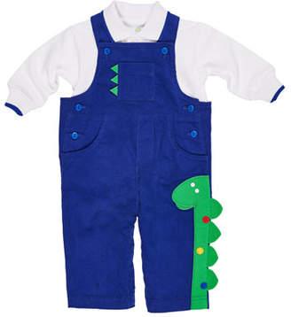 Florence Eiseman Corduroy Dinosaur Overalls w/ Long-Sleeve Polo Shirt, Size 3-24 Months
