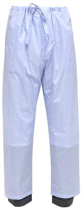 Y/Project Pinstripe Wool Cuff Cotton Trousers - Mens - Blue