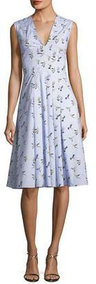 Carolina Herrera V-Neck Sleeveless Bird-Print Midi Dress