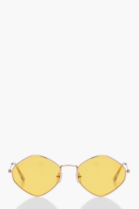 boohoo Yellow Lens Vintage Look Sunglasses
