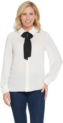 Dennis Basso Woven Tie-Neck Button-Front Blouse with Ruched Cuff