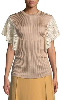 Chloé Crewneck Short Lace Flutter-Sleeve Knit Top
