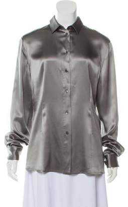 Dolce & Gabbana Silk Long Sleeve Button-Up Silver Silk Long Sleeve Button-Up