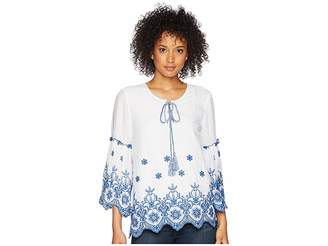 Karen Kane Embroidered Bell Sleeve Top Women's Clothing