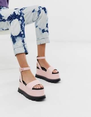 Lamoda pearly pink flatform heeled sandals