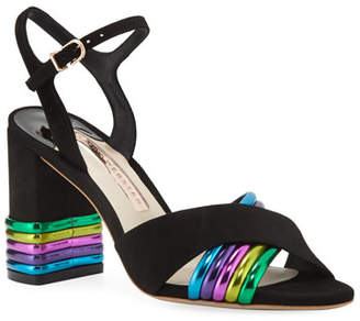 Sophia Webster Joy Mid-Heel Metallic-Stripe Sandals