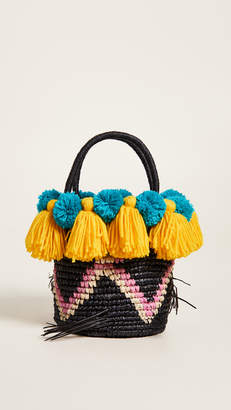 Sensi Studio Small Tote Bag with Pom Poms