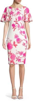 Eliza J Flutter Sleeve Floral Sheath Dress