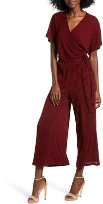 ALL IN FAVOR Wide Leg Wrap Front Jumpsuit