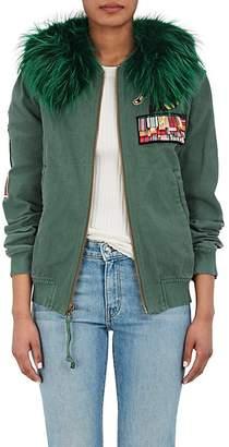 Mr & Mrs Italy Women's Fur-Collar Appliquéd Cotton Bomber Jacket