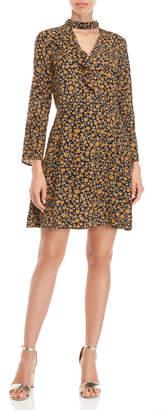 Derek Lam 10 Crosby Gigi Printed Ruffle Bell Sleeve Silk Dress