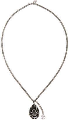 Alexander McQueen Silver and Black Spider Necklace