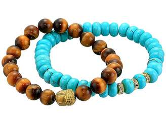 Dee Berkley Stabilized Turquoise and Tiger Eye Beaded Bracelet Set