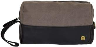 Mahi Leather Canvas & Leather Classic Wash Bag In Black & Grey