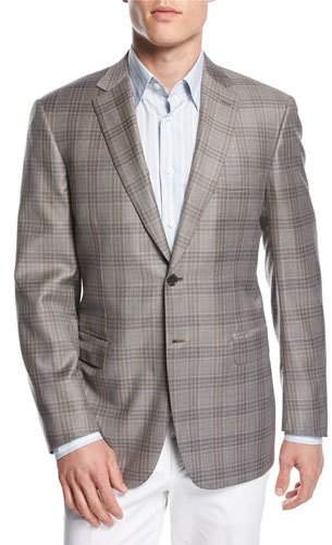 Brioni Brioni Plaid Wool Two-Button Sport Coat, Taupe