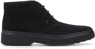 Tod's rubber sole lace-up ankle boots