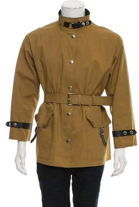 Balenciaga Leather-Trimmed Belted Jacket