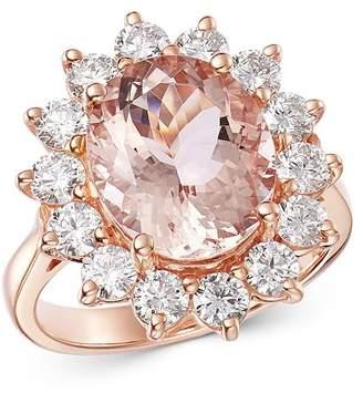 Bloomingdale's Oval Morganite & Diamond Classic Ring in 14K Rose Gold - 100% Exclusive
