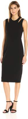 Calvin Klein Women's Round Neck Sleeveless Sheath with Cut Out At Shoulder, Black