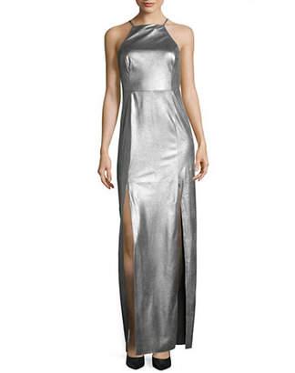 Halston H Long Metallic Cocktail Dress