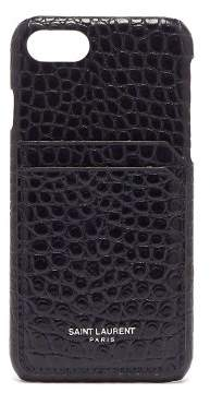 Saint Laurent Crocodile Effect Leather Iphone 8 Case - Womens - Navy