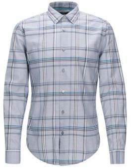 BOSS Hugo Plaid Cotton Button Down Shirt, Slim Fit Ronni XXXL Light Grey