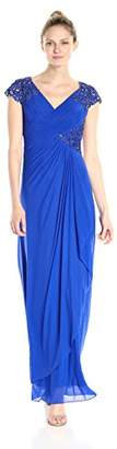 Alex Evenings Women's Long A-line Dress with Embroidered Bodice and Cascade Ruffle