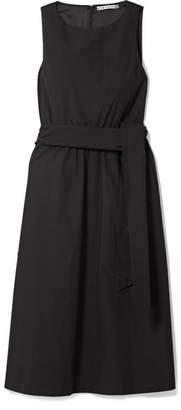 Alice + Olivia Brynlee Belted Cotton-poplin Midi Dress - Black