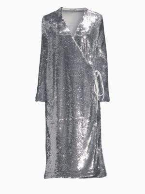 Ganni Women's Sequin Wrap Dress - Silver - Size 34 (2)