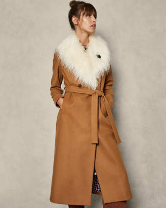 Ted Baker ALCAZA Removable faux fur collar wool wrap coat