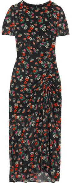 Maje Rancho Ruched Floral-print Chiffon Midi Dress