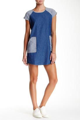 Mimi Chica Cap Sleeve Mixed Denim Shift Dress $23.97 thestylecure.com