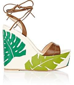 Gianvito Rossi Women's Grenada Leather & Canvas Wedge Sandals - Texas