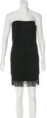 Michael Kors Fringe-Trimmed Strapless Dress