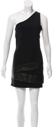 Neil Barrett Leather-Accented One-Shoulder Dress