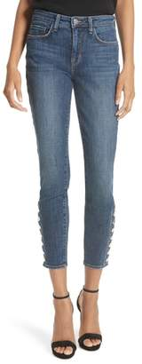 L'Agence Piper Button Hem Skinny Jeans