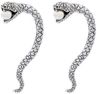 Saint Laurent Metallic Silver Marrakech Perle Serpent Earrings