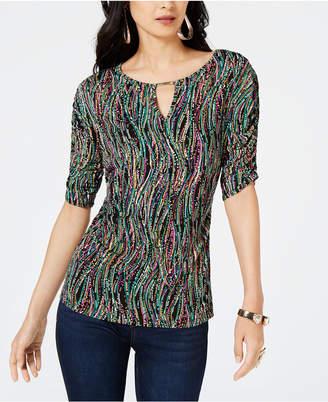Thalia Sodi Sequined Elbow-Sleeve Keyhole Top, Created for Macy's