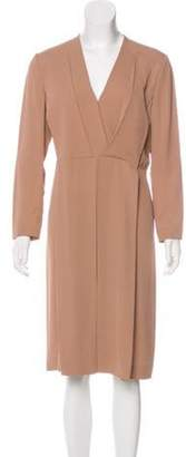 Calvin Klein Collection Silk Midi Dress Tan Silk Midi Dress